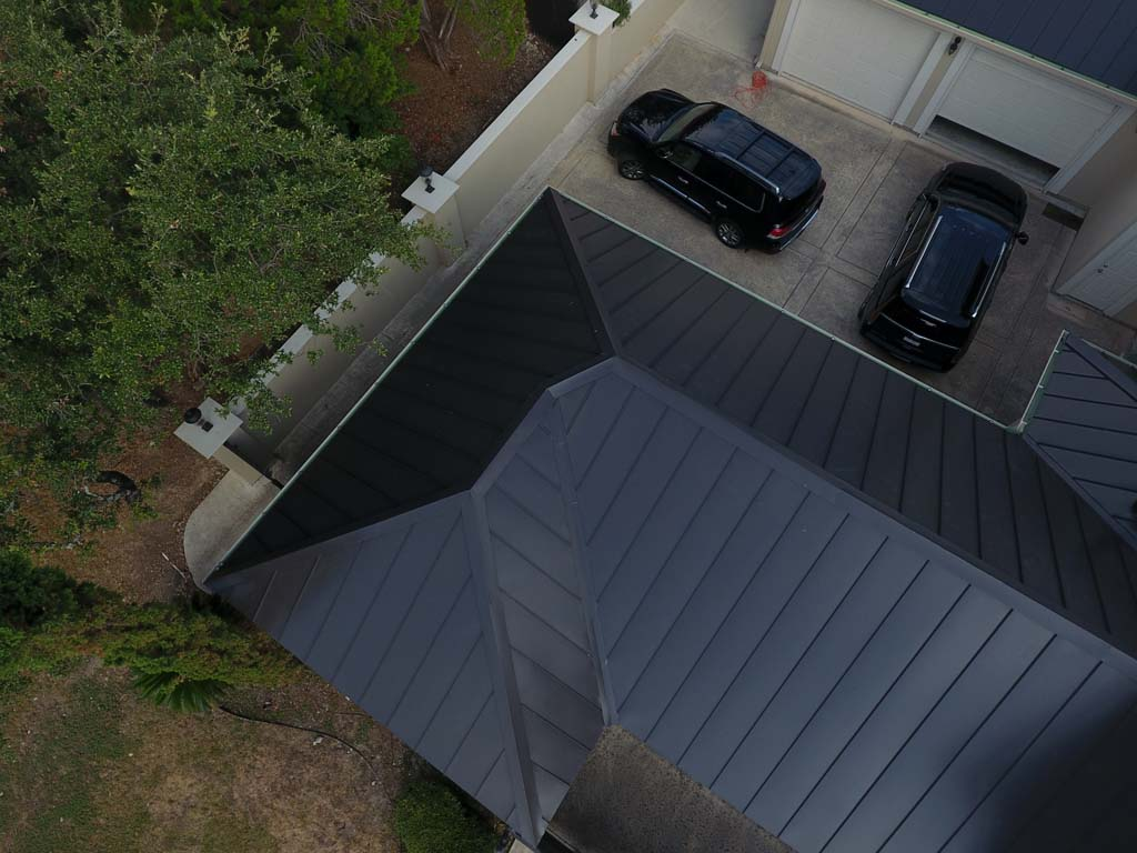 Kresta Roofing Residential Metal Roof installation large home drone