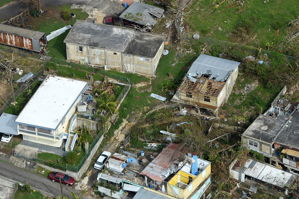 aerial view of hurricane damaged neighborhood