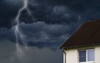 Lightning, storm, and house